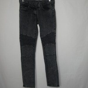 Carmar Charcoal Moto Skinny Jeans Low Rise Size 26